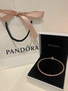 Genuine Pandora Rose Gold Moments Snake Chain Bracelet 18cm