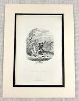 1885 Antico Stampa George Cruikshank Illustrazione Vittoriano Romance Courtship