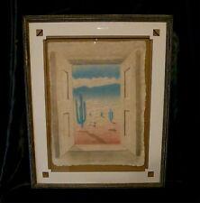 "Figi Graphics Art ""Desert Window"" Signed Wess 1992 Mixed Media Framed W/Matting"