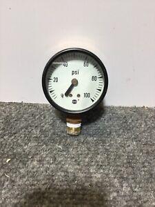 """Vintage USG Pressure PSI Gauge Steampunk Decor 2-1/8"""" Dia. 0-100 PSI 1/2"""""""