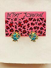 Betsy Johnson Fashion Blue Crystal Cute Little Owl Rhinestone  earrings