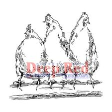 Deep Red Stamps Hens Rubber Cling Stamp