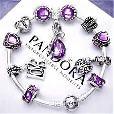 Authentic Pandora Bracelet Silver with Charms Love Purple Angel European Charms