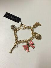 New Guess Goldtone Logo Crystal Heart Charms Bracelet