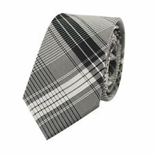 Silk Grey Checked Necktie  Silk Woven Grey Tartan Necktie  0932