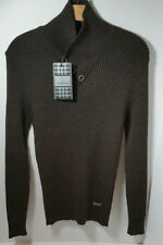 NWT SV & MODA M Tall Designer Stretch Ribbed Brown knit Shirt collar Turtleneck