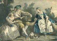 """LES AMOURS DU BOCAGE"" ORIGINAL 18th CENTURY ENGRAVING AFTER N. LANCRET PAINTING"