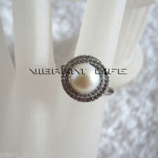 7.5-8.0mm White Freshwater Pearl Ring R15H US Size 6.75# Adjustable Size AC