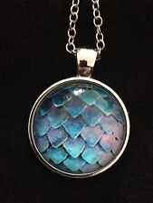 Mermaid Scales Fish Scales Glass Dome Pendant Necklace Silver Plated. SteamPunk