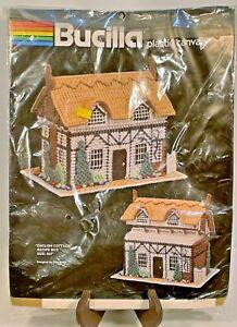"Bucilla 5962 English Cottage Recipe Box 6""x7"" Plastic Canvas Craft Kit +Yarn NEW"
