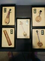 Five Vintage Chinese Framed handmade Instruments