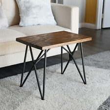 "Wooden Side Table Rustic Stool 19"" Metal Legs WELLAND"