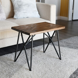 """Wooden Side Table Rustic Stool 19"""" Metal Legs, Stool Iron Pipe Side WELLAND"""