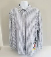 Disney Store White Striped Long Sleeve Button Front Shirt Mickey Mouse XL