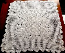 Vintage Hand Crochet White Cotton Table Cloth 32x33 Inches - Scalloped Hem