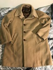 60s Vintage Pendleton 100% Virgin Wool Coat Overcoat Camel Tan Mens Large
