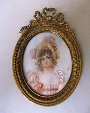 Antike Lupenmalerei Miniatur auf Bein hinter Glas um 1850 signiert - gerahmt