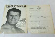 Vintage Killer Kowalski Institute Professional Wrestling Course Application WWF