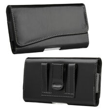 for iPhone X - HORIZONTAL BLACK Leather Pouch Holder Belt Clip Loop Holster Case