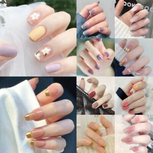 24Pcs French Tips Full Nail Cover Press On Natural Finger Toe False Fake Wedding
