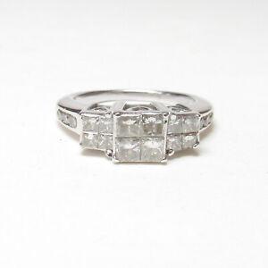 Estate 14K White Gold Princess and Brilliant Cut Diamond Cluster Ring 1.00 Ct