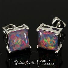 8x8mm Square Cherry Red Black Fire Opal Cabochon Silver Jewelry Stud Earrings
