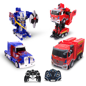 Kids RC Toy Vehicle Set Transforming Robot Remote Control Toys For Boys 8-12