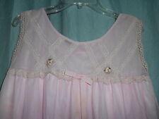 EVC vtg Avian pink chiffon top layer short nightgown lace yoke Small p160