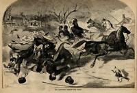 Winslow Homer art Sleighing scene winter 1860 Harper's Weekly woodcut print