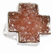Cross Amethyst Druzy 925 Sterling Silver Ring Jewelry s.7.5 SR194528