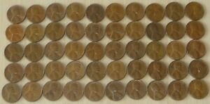 1958d #1 Roll Vintage Wheat Pennies, pennies fine or better,