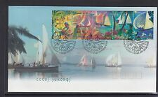 COCOS Islands 1999 HARI RAYA Festival Sailing boats  Strip set of 5 on FDC  -