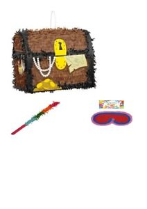 Pirate Treasure Chest Pirate 3D Pinata Stick & Blindfold Birthday Party Toy