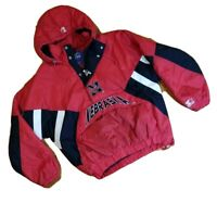 Vintage 90s STARTER Nebraska Cornhuskers Red Pullover Jacket XL Red 1/2 Zip