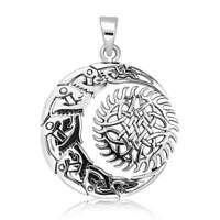 "925 Sterling Silver Celtic Moon Sun Pendant Includes 20"" Italian Snake Chain"