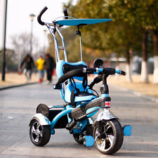 Kyootsi Kids Smart Trike Baby Tricycle 3 Wheel 4 in 1 Bike with Handle  - Blue