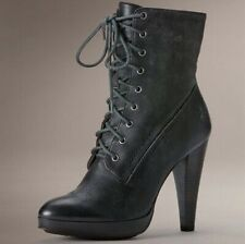 Frye Harlow Lace Up Boots Womens Size 9.5 Distressed Black Leather