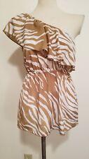 Madison zebra print top one shoulder size medium tan and white
