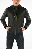 $848 Diesel Men's L-Tech Jacket Black Leather White Hood Size L