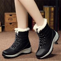 Women's Winter Snow Boots Artificial Wool Lining Warm Waterproof Lace Up