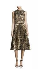 NWT Red Valentino $1595 Sleeveless Leopard Pleated Dress IT 40