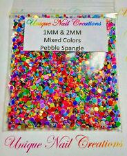 1MM & 2MM Mixed Color Pebble Spangles~ Nail Art~ USA