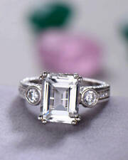 6Ct Emerald Cut Diamond Vintage Solitaire with Accent Ring 14K White Gold Finish