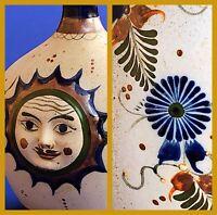 Vintage Signed J Santana Tonala Sunburst Face Mexico Folk Art Pottery Southwest