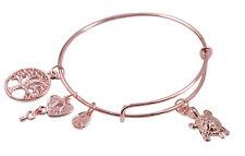 1PCS Rose Gold Plate Turtle Charm Expandable Wire Bangle Bracelet #91202