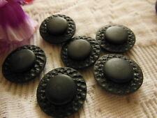 lot 6 boutons vintage noir imitation cuir à pied diamètre 1,8 cm ref 319