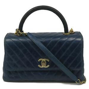 Chanel Herringbone CC GHW 2 Way Shoulder Bag Calfskin Leather Blue 1719