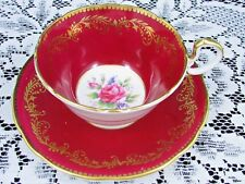 AYNSLEY PINK ROSE GOLD GILT GARLAND RICH RED TEA CUP AND SAUCER TEACUP