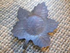 Old Vintage Leaf Shape Plate Dish Candle Base Candy Trinket Coaster Fall Autumn