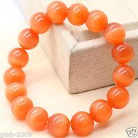 12mm Handmade Natural Orange Cat Eye Stone Opal Gemstone Stretch Bangle Bracelet